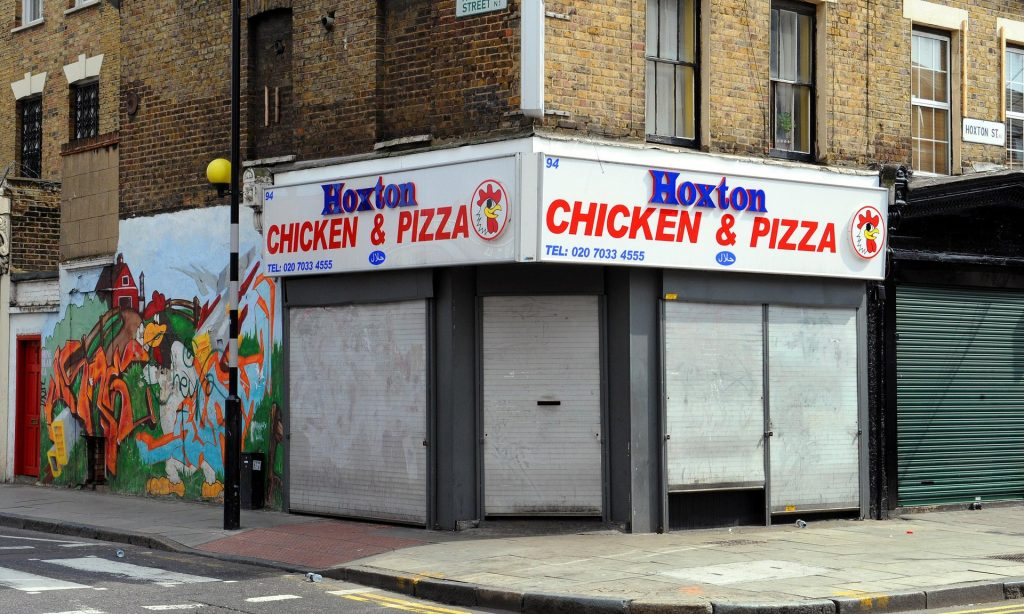 A takeaway shop in the gentrified neighbourhood of Hoxton, east London. Photograph: Fiona Hanson/PA